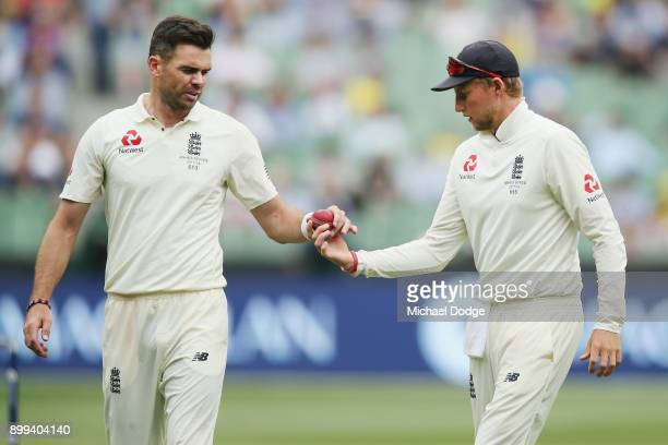 James Anderson of England is given the ball from Joe Root after he shines it during day four of the Fourth Test Match in the 2017/18 Ashes series...