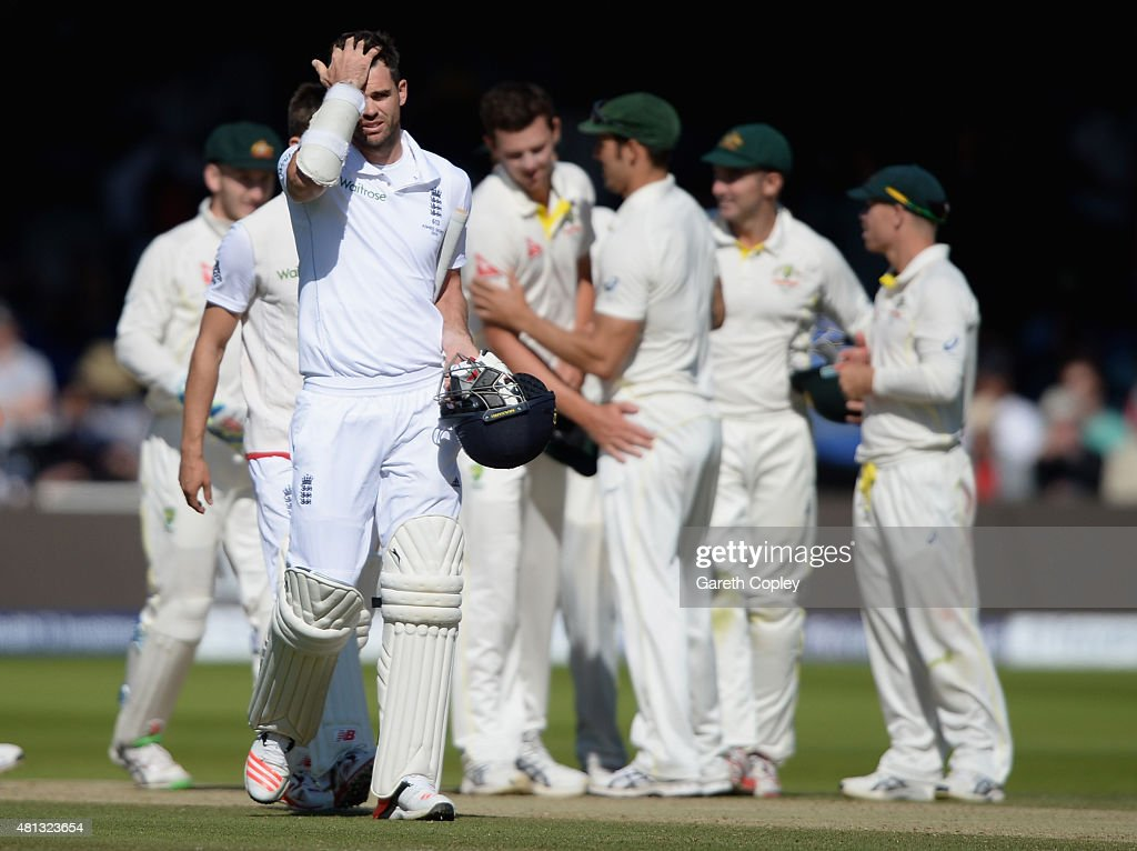 James Anderson of England leaves the field after losing the 2nd Investec Ashes Test match between England and Australia at Lord's Cricket Ground on July 19, 2015 in London, United Kingdom.