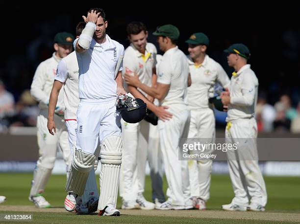 James Anderson of England leaves the field after losing the 2nd Investec Ashes Test match between England and Australia at Lord's Cricket Ground on...