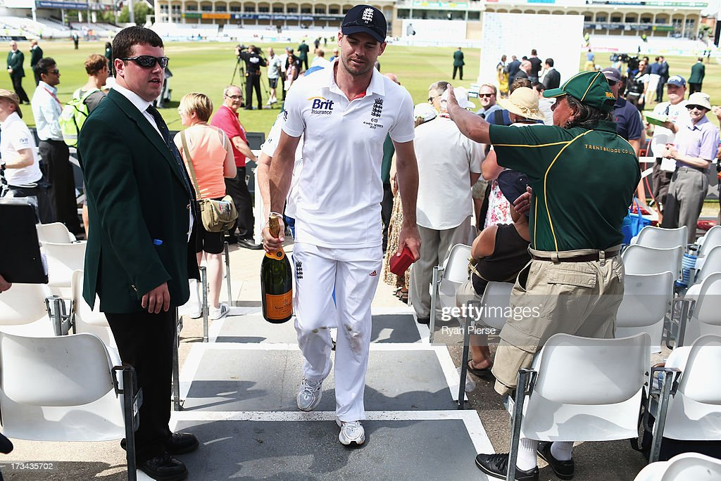 James Anderson of England leaves the ground after recieving his man of the match awards after day five of the 1st Investec Ashes Test match between England and Australia at Trent Bridge Cricket Ground on July 14, 2013 in Nottingham, England.