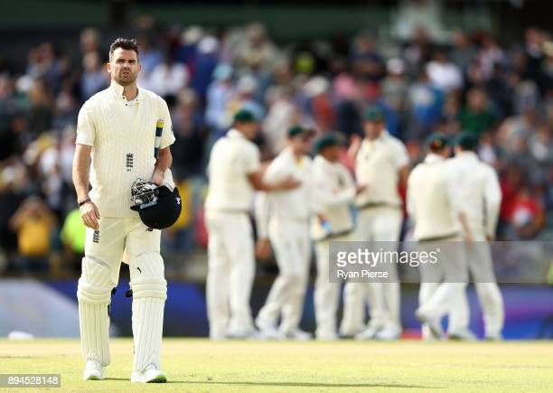 James Anderson of England looks dejected after Australia claim victory during day five of the Third Test match during the 2017/18 Ashes Series...