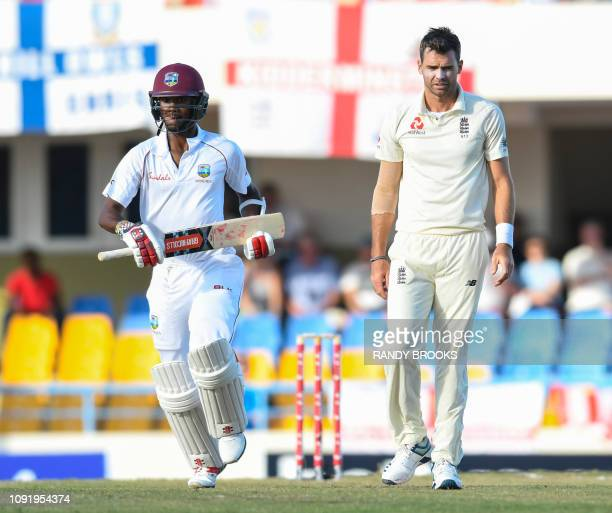 James Anderson of England looks disappointed as Kraigg Brathwaite of West Indies get runs during day 1 of the 2nd Test between West Indies and...
