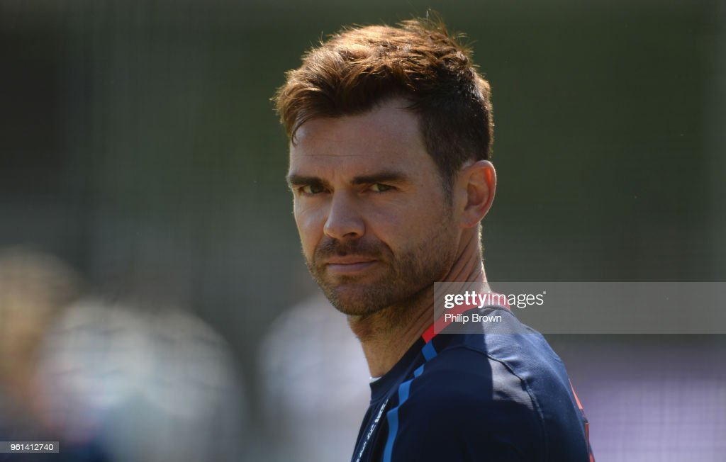James Anderson of England looks on during a training session before the 1st Test match between England and Pakistan at Lord's cricket ground on May 22, 2018 in London, England.