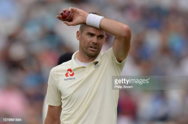 James Anderson of England looks on during the third day of the 3rd Specsavers Test Match between England and India at Trent Bridge on August 20 2018...