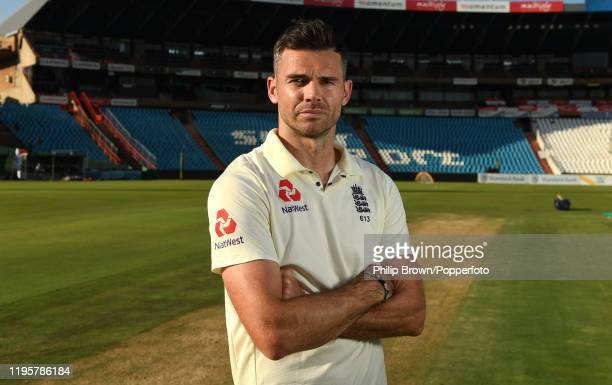 James Anderson of England poses for a photograph after a training session at Supersport Park before the first test match against South Africa on...