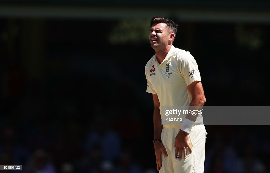 James Anderson of England reacts after bowling during day four of the Fifth Test match in the 2017/18 Ashes Series between Australia and England at Sydney Cricket Ground on January 7, 2018 in Sydney, Australia.