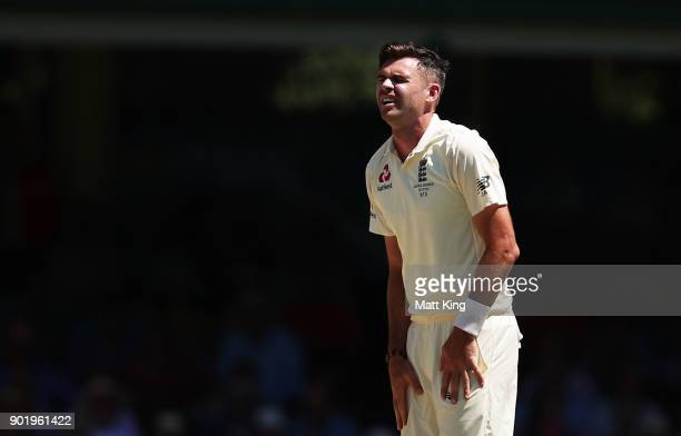 James Anderson of England reacts after bowling during day four of the Fifth Test match in the 2017/18 Ashes Series between Australia and England at...