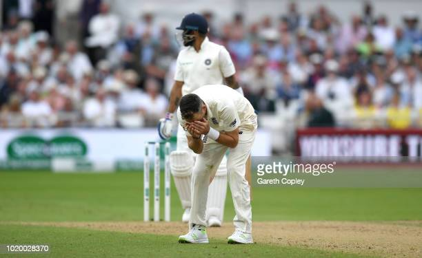 James Anderson of England reacts after Keaton Jennings drops India captain Virat Kohli during day three of the Specsavers 3rd Test match between...