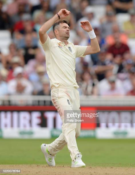 James Anderson of England reacts during the third day of the 3rd Specsavers Test Match between England and India at Trent Bridge on August 20 2018 in...