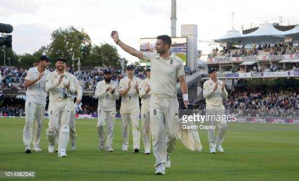 James Anderson of England salutes the crowd after taking a five wicket haul during day two of the 2nd Specsavers Test between England and India at...