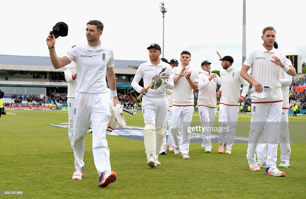 James Anderson of England salutes the crowd as he leaves the field after taking a ten wicket haul to win the 1st Investec Test match at Headingley on May 20, 2016 in Leeds, England.