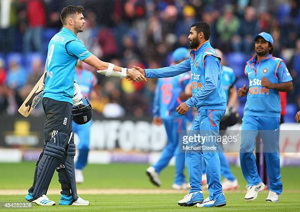 James Anderson of England shakes hands with Ravindra Jadeja of India after India's 133 run victory during the second Royal London OneDay Series match...