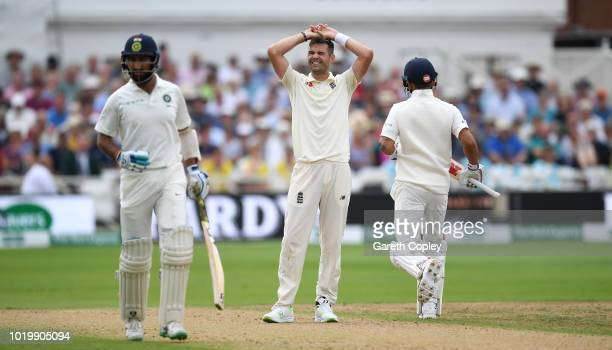 James Anderson of England shows his frustation during day three of the Specsavers 3rd Test match between England and India at Trent Bridge on August...