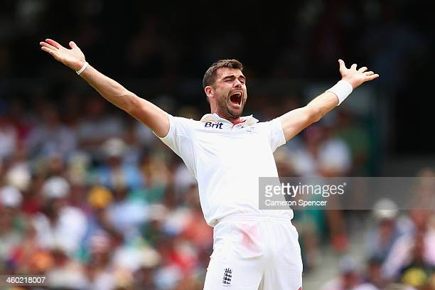 James Anderson of England successfully appeals for the dismissal of Shane Watson of Australia for LBW during day one of the Fifth Ashes Test match...