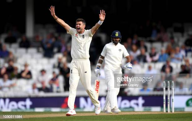 James Anderson of England successfully appeals for the wicket of Shikhar Dhawan of India during day four of the Specsavers 5th Test match between...