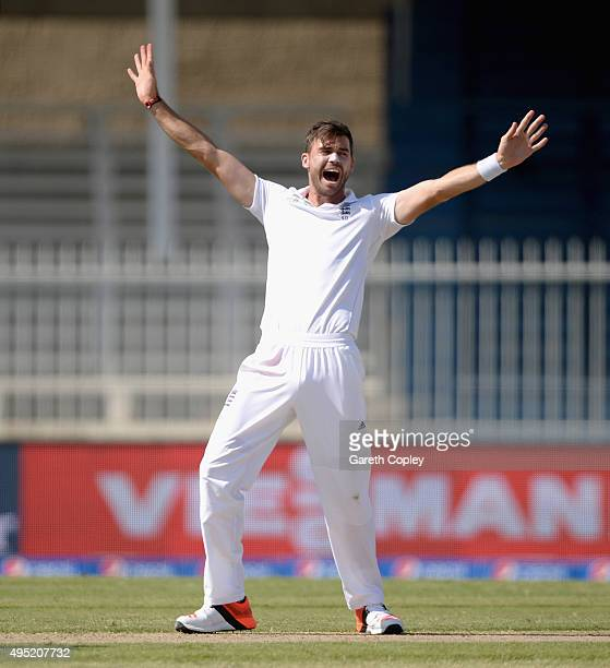 James Anderson of England successfully appeals for the wicket of Younis Khan of Pakistan during day one of the 3rd Test between Pakistan and England...