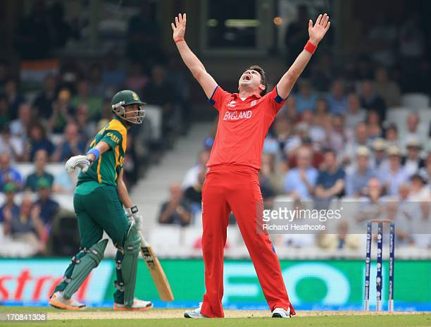 James Anderson of England sucessfully appeals for an LBW against Robin Peterson of Souh Africa during the ICC Champions Trophy Semi Final match...