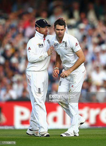 James Anderson of England takes a catch off his own bowling to dismiss Ryan Harris of Australia during day two of the 5th Investec Ashes Test match...