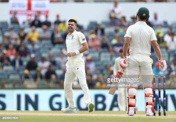 James Anderson of England takes the wicket of Shaun Marsh of Australia during day four of the Third Test match during the 2017/18 Ashes Series...