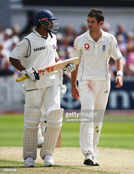 James Anderson of England talks to Wasim Jaffer of India during day two of the Second Test match between England and India at Trent Bridge on July 28...