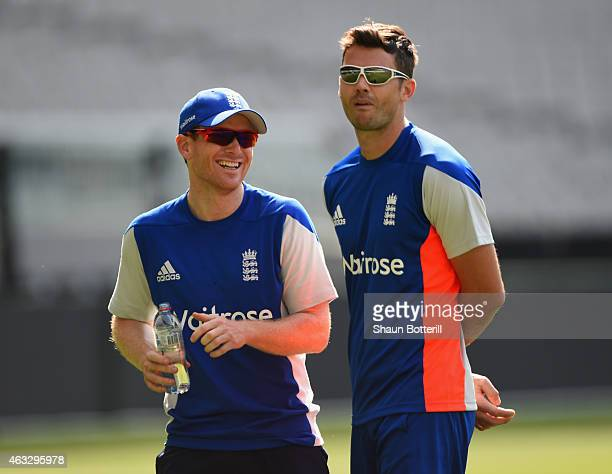 James Anderson of England talks with captain Eoin Morgan during an England net session at Melbourne Cricket Ground on February 13 2015 in Melbourne...