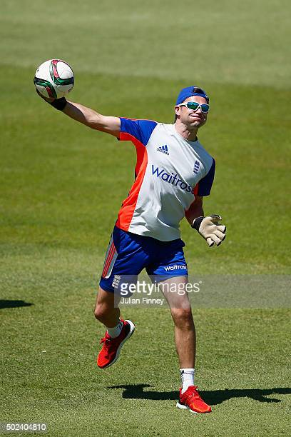 James Anderson of England throws the football playing as goalkeeper during England nets and training session at Sahara Stadium Kingsmead on December...