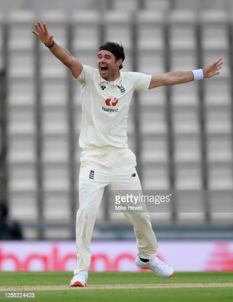James Anderson of England unsuccessfully appeals during day two of the 1st #RaiseTheBat Test match at The Ageas Bowl on July 09 2020 in Southampton...