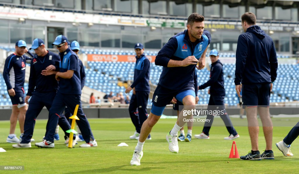 James Anderson of England warms up during a nets session at Headingley on August 23, 2017 in Leeds, England.