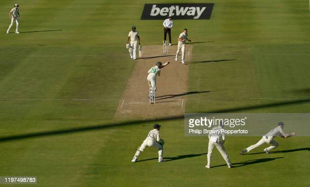 James Anderson of England watches as Ben Stokes catches Dwaine Pretorius of South Africa during Day Two of the Second Test between England and South...