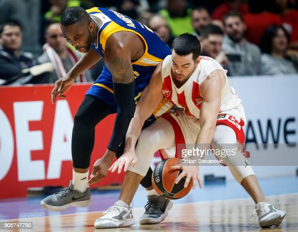 James Anderson of Khimki competes for the against Taylor Rochestie of Crvena Zvezda during the 2017/2018 Turkish Airlines EuroLeague Regular Season...