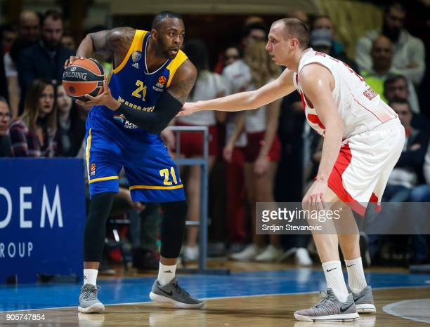 James Anderson of Khimki in action against Dejan Davidovac of Crvena Zvezda during the 2017/2018 Turkish Airlines EuroLeague Regular Season Round 18...
