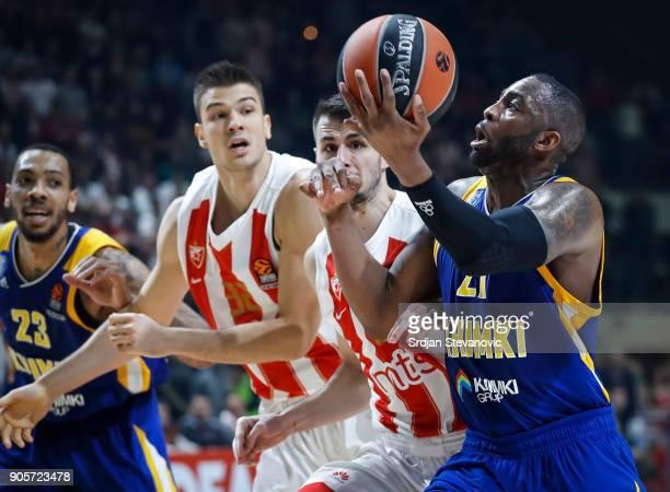 James Anderson of Khimki in action against Nemanja Dangubic of Crvena Zvezda during the 2017/2018 Turkish Airlines EuroLeague Regular Season Round 18...