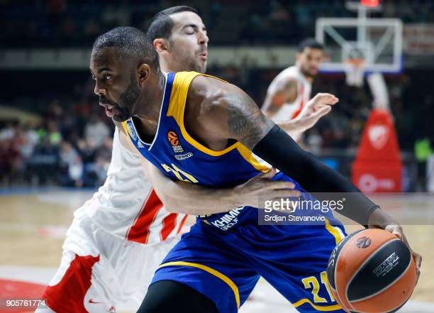 James Anderson of Khimki is challenged by Taylor Rochestie of Crvena Zvezda during the 2017/2018 Turkish Airlines EuroLeague Regular Season Round 18...