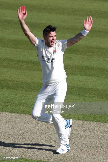 James Anderson of Lancashire appeals to the umpire during the Specsavers County Championship Division Two match between Middlesex and Lancashire at...
