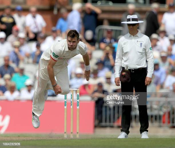 James Anderson of Lancashire bowls during day two of the Specsavers County Championship division one match between Lancashire and Yorkshire at...