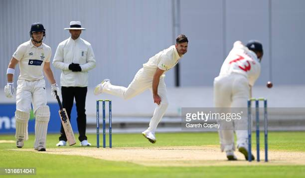 James Anderson of Lancashire bowls during the LV= Insurance County Championship match between Lancashire and Glamorgan at Emirates Old Trafford on...