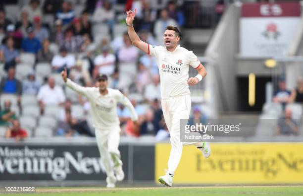 James Anderson of Lancashire celebrates as he gets Adam Lyth of Yorkshire out during the Specsavers Championship Division One match between...