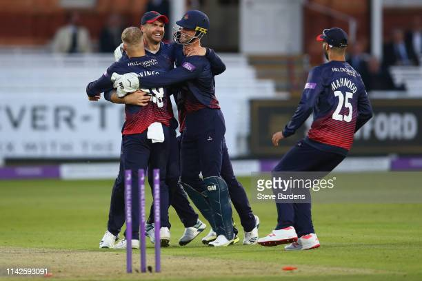 James Anderson of Lancashire celebrates taking the wicket of John Simpson of Middlesex with his team mates during the Royal London One Day Cup...