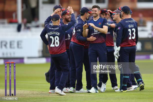 James Anderson of Lancashire celebrates taking the wicket of Nick Gubbins of Middlesex lbw with his team mates during the Royal London One Day Cup...