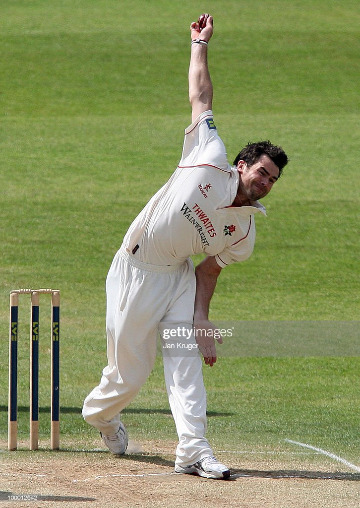 James Anderson of Lancashire in action during the LV= County Championship Division One match between Warwickshire and Lancashire at Edgbaston on May 20, 2010 in Birmingham, England.
