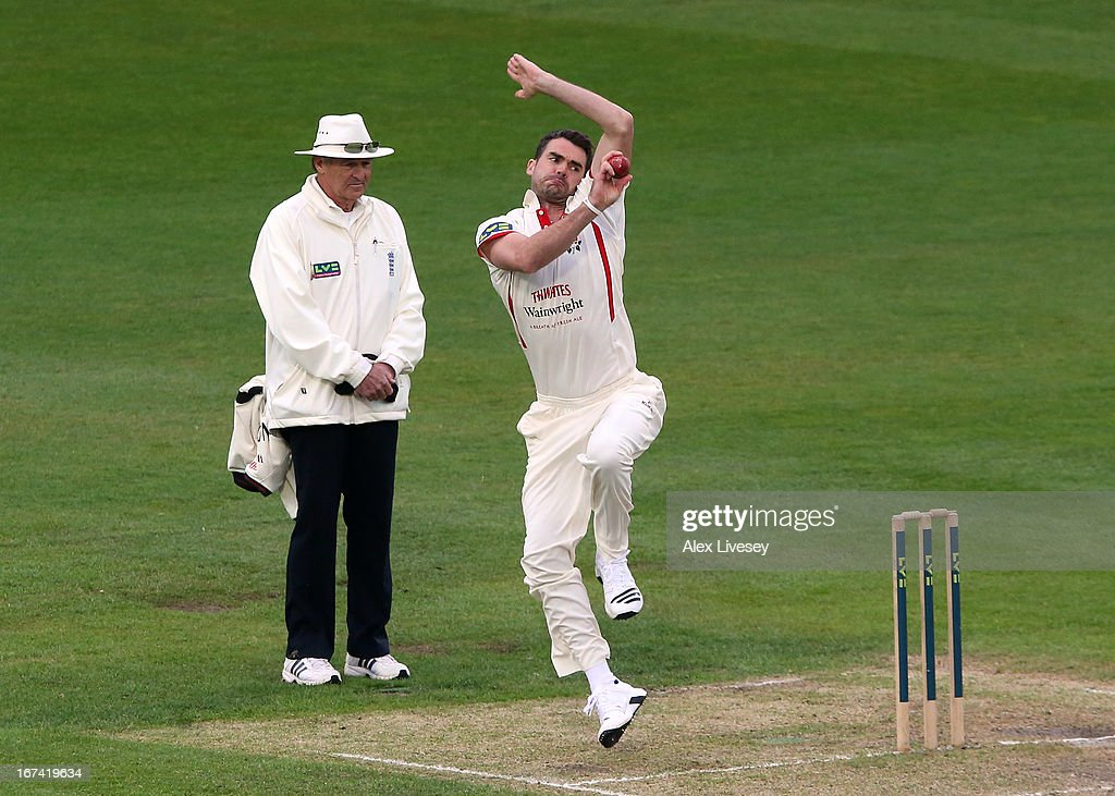 James Anderson of Lancashire in action during the LV County Championship Division Two match between Lancashire and Kent at Emirates Old Trafford on April 25, 2013 in Manchester, England.