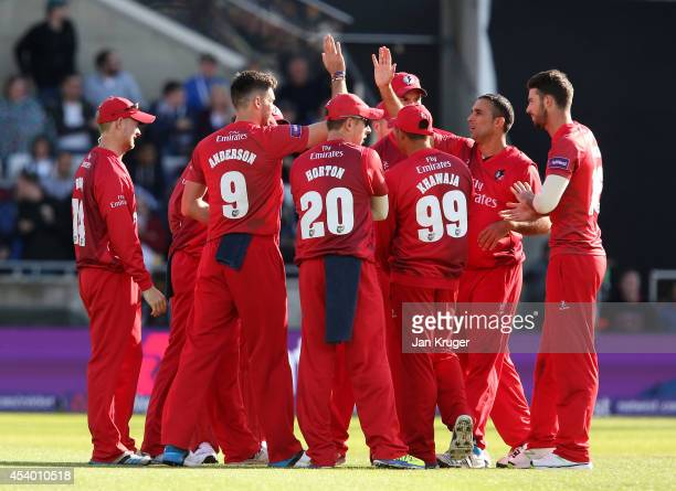 James Anderson of Lancashire Lightning celebrates the wicket of James Vince of Hampshire during the Natwest T20 Blast Semi Final match between...