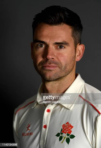 James Anderson of Lancashire poses for a portrait during the annual photocall at Emirates Old Trafford on April 03 2019 in Manchester England