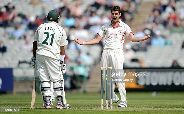 James Anderson of Lancashire reacts after an unsuccessful appeal during day one of the LV County Championship division one match between Lancashire...