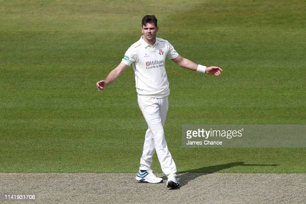 James Anderson of Lancashire reacts during the Specsavers County Championship Division Two match between Middlesex and Lancashire at Lord's Cricket...
