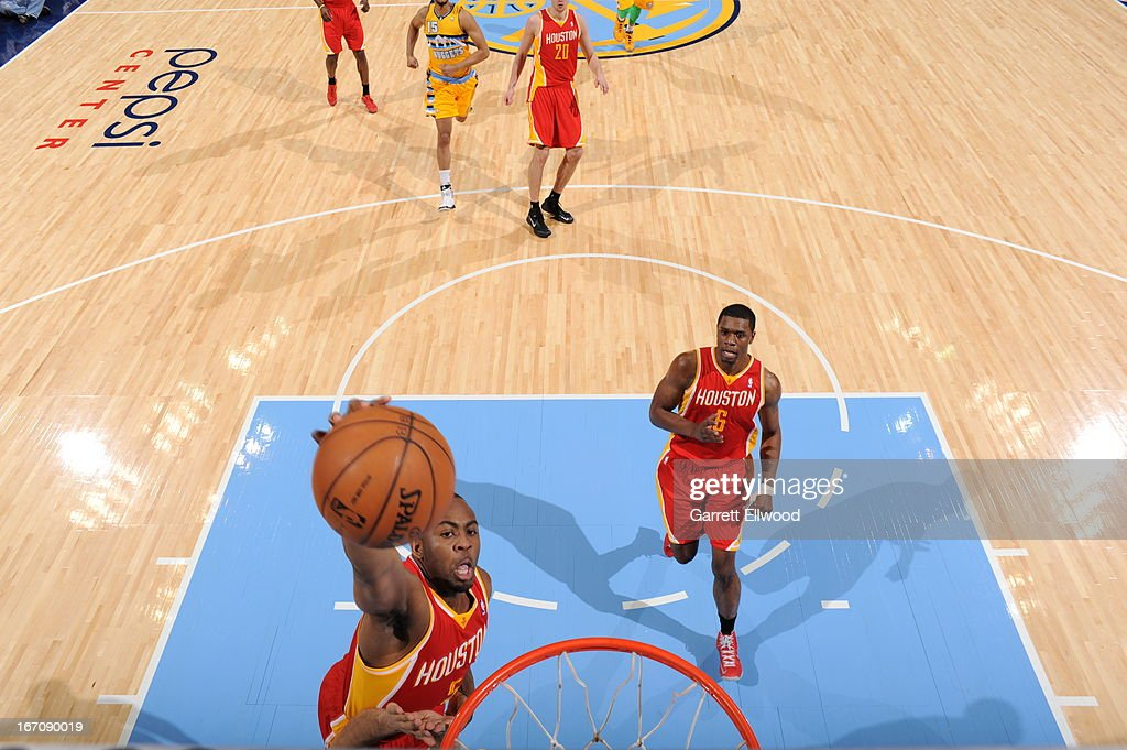 James Anderson #5 of the Houston Rockets goes up for the dunk against the Denver Nuggets on April 6, 2013 at the Pepsi Center in Denver, Colorado.
