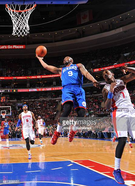 James Anderson of the Philadelphia 76ers goes up for a shot against the Detroit Pistons at the Wells Fargo Center on March 29 2014 in Philadelphia...