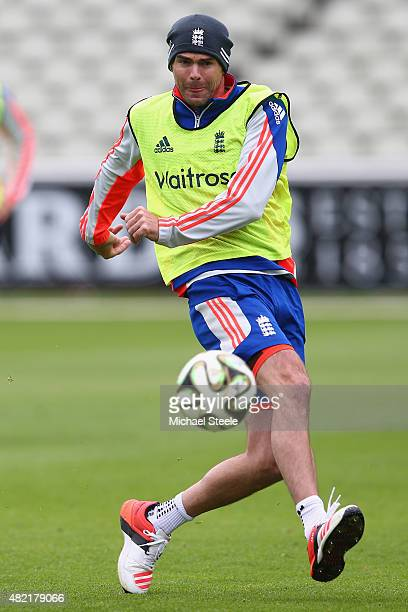 James Anderson shows off his football skills during the England nets session ahead of the 3rd Investec Ashes Test match between England and Australia...