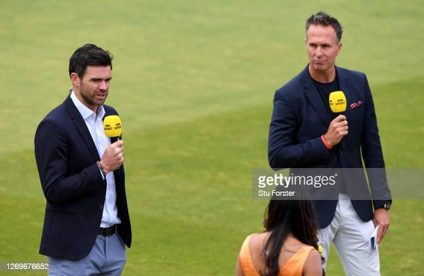 James Anderson talks to Michael Vaughan and Isa Guha whilst broadcasting for the BBC who televise their first live match in 21 years prior to the 2nd...