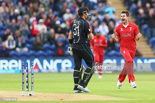James Andeson of England celebrates bowling Martin Guptill of New Zealand during the ICC Champions Trophy Group A match between England and New...